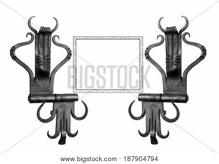 Door hinges with frame for your text.