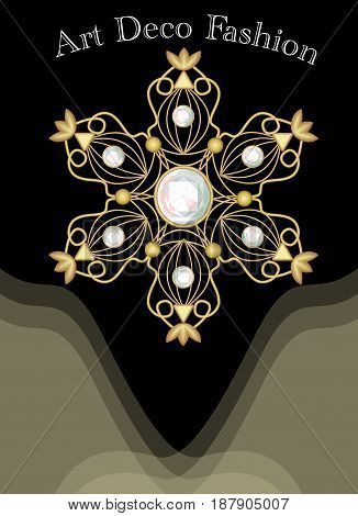 Expensive art deco filigree brooch in with diamonds, fashion in victorian style, antiquarian gold jewel, vector EPS 10