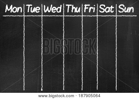 Blackboard With The Text 'monday, Tuesday, Wednesday, Thursday, Friday, Saturday, Sunday '