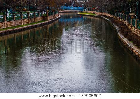 Eskisehir Turkey - March 13 2017 : View of Porsuk River Eskisehir on a rainy spring day. Eskisehir is a modern city in center of Anatolia