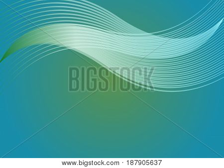 Abstract vector background in sea laguna colors with horizontal wavy elements, vector EPS 10