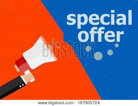 Special Offer. Hand Holding Megaphone And Speech Bubble. Flat Design
