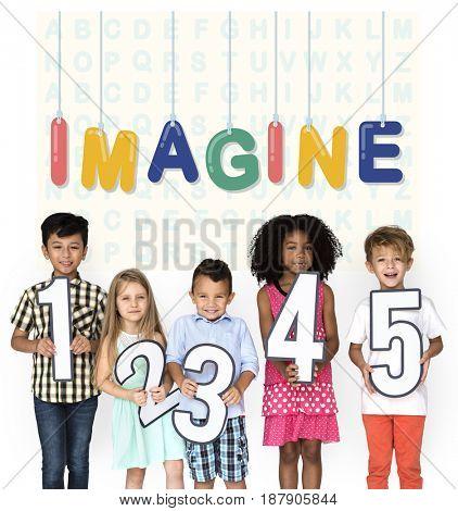 Diverse Kids Numbering Creativity