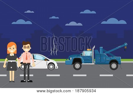 Car repairs banner with people couple near broken car and tow truck on highway. Vector illustration for automobile repair service, auto assistance, car evacuating. Road accident or car trouble