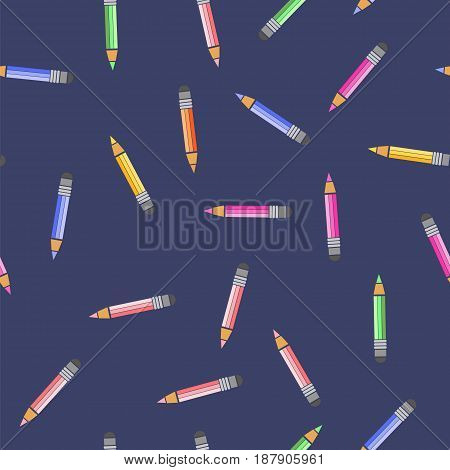 Colored Pencils Seamless Pattern on Blue Background