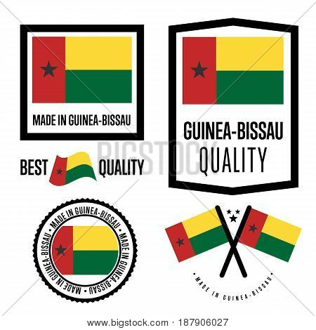 Guinea bissau quality isolated label set for goods. Exporting stamp with nation flag, manufacturer certificate element, country product vector emblem. Made in Guinea bissau badge collection.