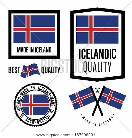 Iceland quality isolated label set for goods. Exporting stamp with icelandic flag, nation manufacturer certificate element, country product vector emblem. Made in Iceland badge collection.
