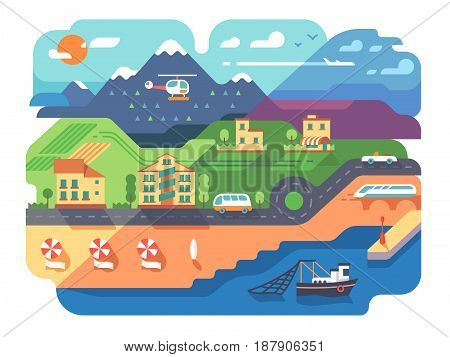 Coastal resort town with sandy beach and infrastructure. Vector illustration