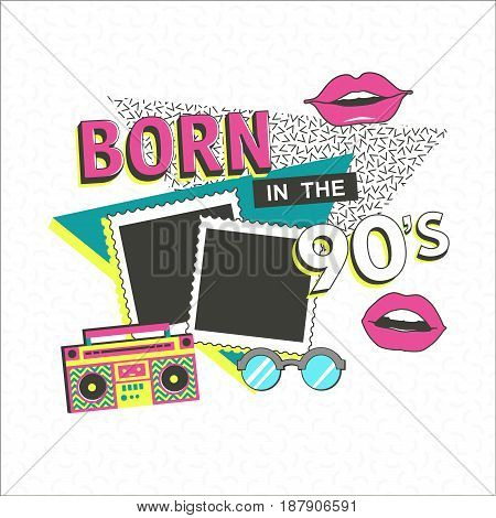 Template memphis poster with photo frame, lips and geometric ornaments elements. Back to the 90 s. Vector background in trendy 80s-90s.