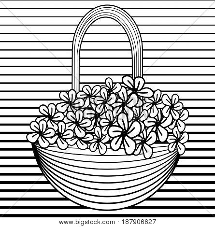 Small basket with flowers in line art style. Black and white vector illustration, vector EPS 10