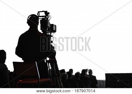 Conference Production Cameraman Silhouette
