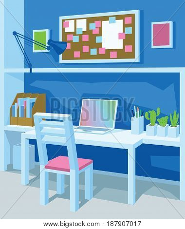 Interior of workplace in cartoon style. Home Office in Blue Color. Workspace with desk, laptop, board with notes, frames, chancellery, lamp, chair and plants. Scene for artworks. Vector illustration.