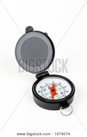 Compass with white red neadle black case on white background poster
