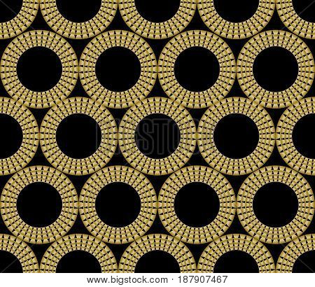 Classic gold patterns with 3d effect on black background, seamless ornament in damask style, golden circle shape on black area, vector eps10
