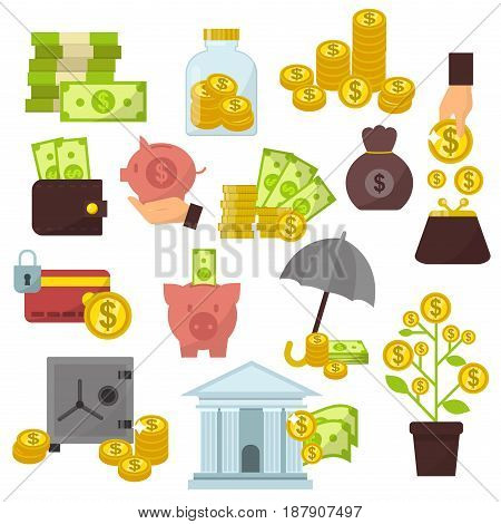 Set of flat design concept money icons for finance banking online payment dollar commerce vector illustration. Investment symbol buck cash note gold coins pictogram development services