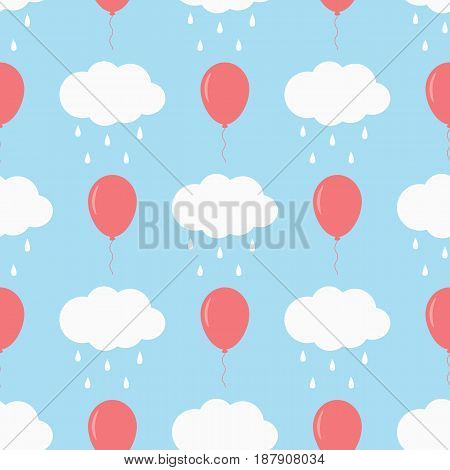Clouds with raindrops and flying balloons. Children's seamless pattern. Cartoon vector illustration. Blue white pink.