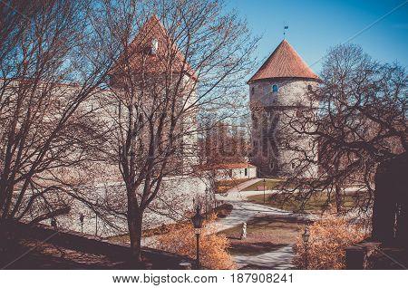 Medieval Tower Kiek-in-de-Kok In Park On Hill Toompea. Tallinn, Estonia.