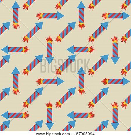 Fireworks rocket seamless pattern vector illustration in flat style. Red skyrocket symbol festival.