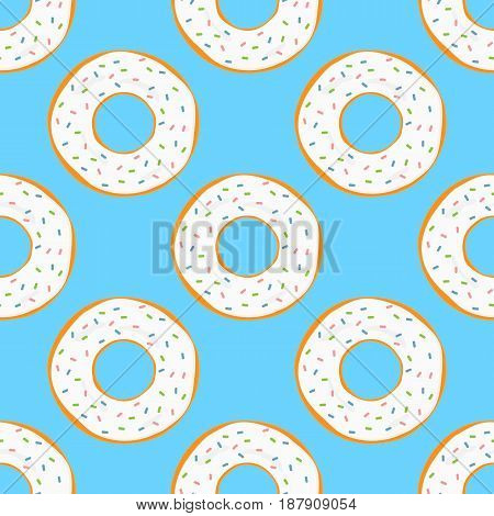 Round donuts with white glaze and pink green blue sprinkles. Bright cartoon seamless pattern. Vector illustration.