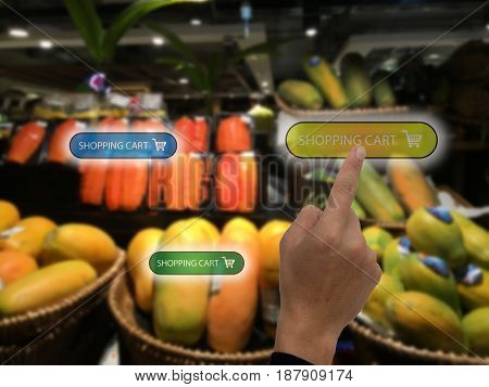 internet of things marketing concepts customer use augmented reality to buy the product by use ar application to add to cart display at retail