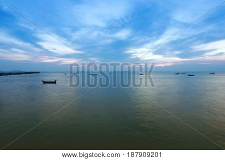 twilight sky and sea in Tropical coast in thailandview of the beautiful nature in the evening.