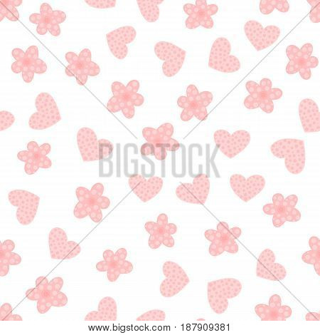 Cartoon flowers and hearts. Cute seamless pattern for girls. Pink white color. Vector illustration.