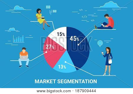 Market segmentation infographic vector illustration of people sitting on round percentage diagram. Flat people working with laptop, chatting messages and using digital tablet. Blue business background