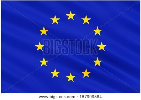 Slightly waving flag of the European Union isolated on white background 3D rendering.
