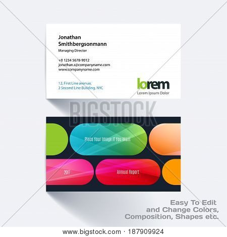 Vector business card template with colourful rounded rectangles for tech, market, construction, company. Simple and clean design. Creative corporate identity layout set with effects.