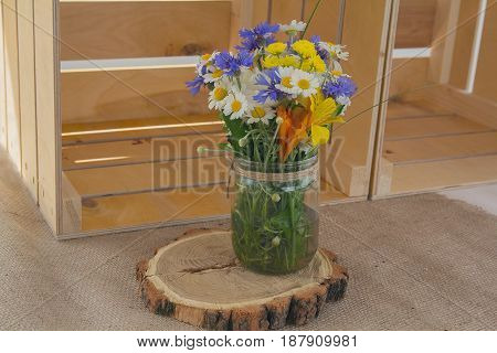 Bouquet of wildflowers in a glass vase