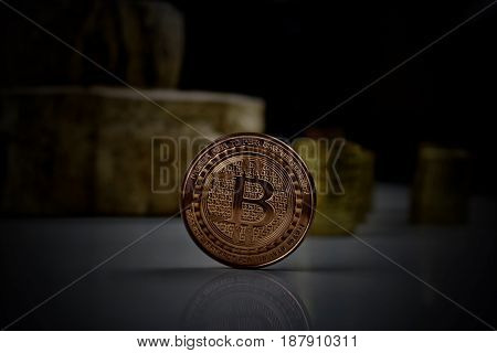 Digital currency physical brass bitcoin coin .