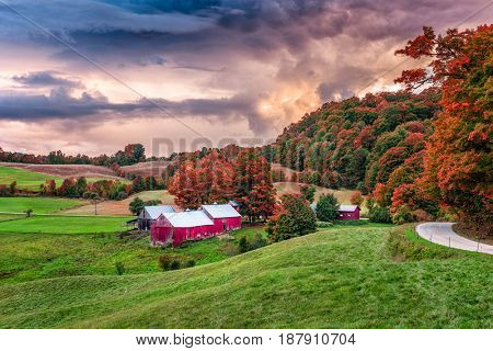 Rural autumn Jenne Farm in Vermont, USA.