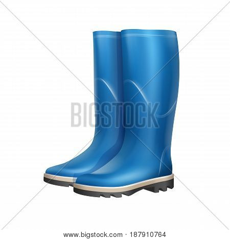 Vector pair of blue rubber boots isolated on white background