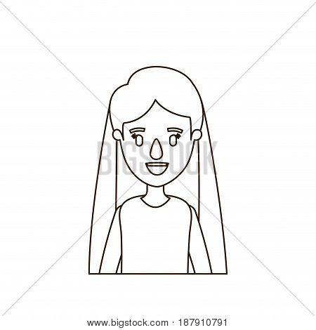 sketch contour half body woman with long straight hair vector illustration