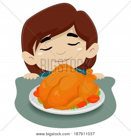 Vector Illustration of Little Girl Smelling the Chicken on the Table