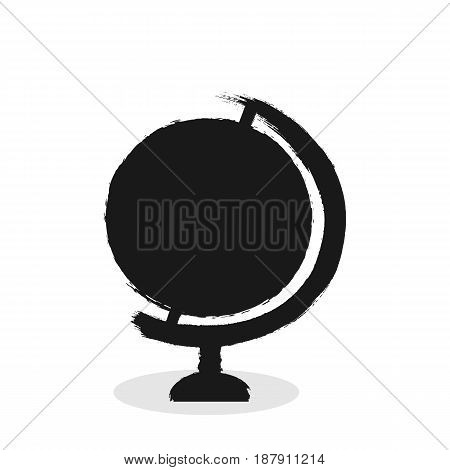 Silhouette of a round desktop globe drawn by hand with a rough brush. Black icon isolated on white background. Sketch grunge graffiti. Vector illustration.