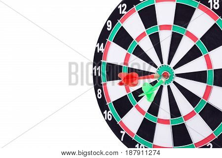 Success Hitting Target Aim Goal Achievement Concept Background - Two Darts In Bull's Eye Close Up. R