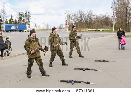 Kirishi, Russia - 9 May, Speech of special forces soldiers with shoulder blades, 9 May, 2017. Holiday demonstration speeches of special forces soldiers in honor of Victory Day.