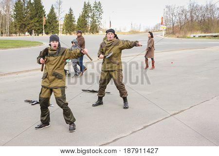 Kirishi, Russia - 9 May, Elements of hand-to-hand combat with the shoulder blades, 9 May, 2017. Holiday demonstration speeches of special forces soldiers in honor of Victory Day.