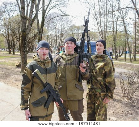 Kirishi, Russia - 9 May, Young fighters with weapons, 9 May, 2017. Holiday demonstration speeches of special forces soldiers in honor of Victory Day.