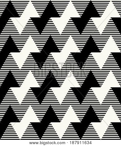 Modern Monochrome Geometric Texture With Horizontal Zigzag Lines And Striped Background. Vector Seam
