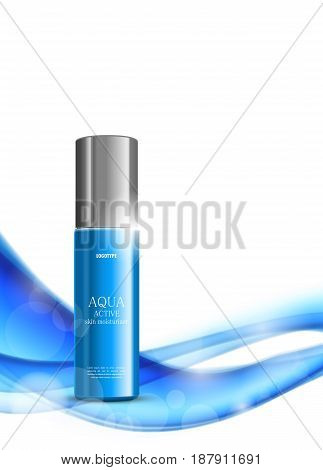 Skin moisturizer cosmetic light design template with blue realistic plastic package on soft dynamic wavy bright lines background. Vector illustration