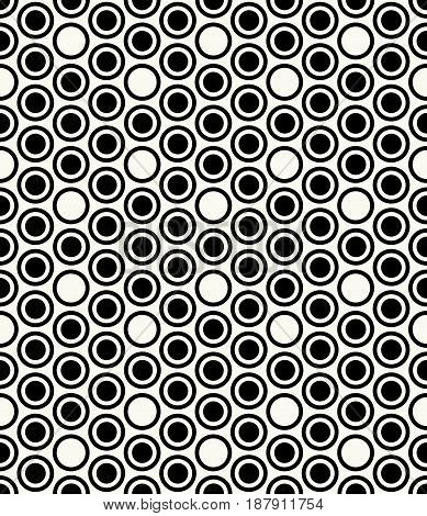 Vector Seamless Pattern. Modern Stylish Monochrome Geometric Background With Structure Of Repeating