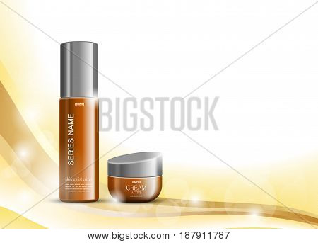 Skin moisturizer cosmetic ads template with brown realistic packages on light wavy dynamic smooth lines background. Vector illustration