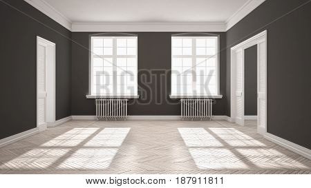 Empty room with parquet floor big windows doors and radiators white and gray interior design, 3d illustration