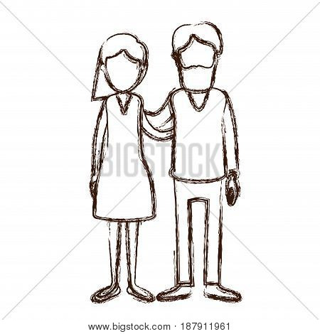 blurred silhouette full body woman with wavy short hair in skirt and man embracing couple vector illustration