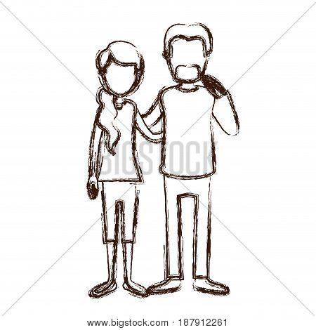 blurred silhouette full body woman with ponytail side hair and man embracing couple vector illustration