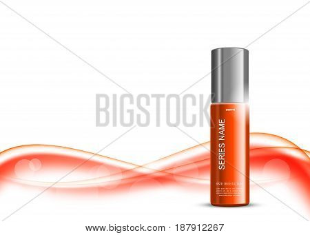 Skin moisturizer cosmetic ads template with orange realistic bottle on red wavy elegant soft dynamic smooth lines background. Vector illustration