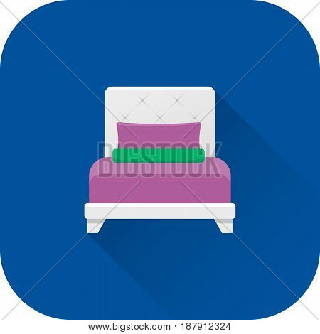 Bed icon. Vector. Flat design with long shadow. White bed isolated on blue background. Furniture for bedroom.