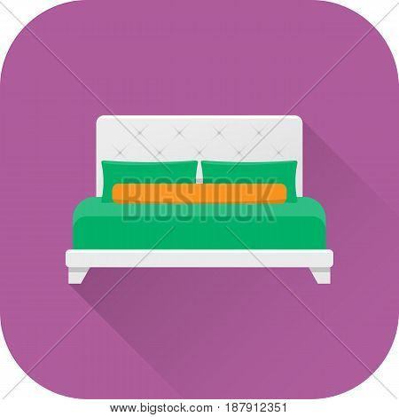 Bed icon. Vector. Flat design with long shadow. White double bed isolated on purple background. Furniture for bedroom.